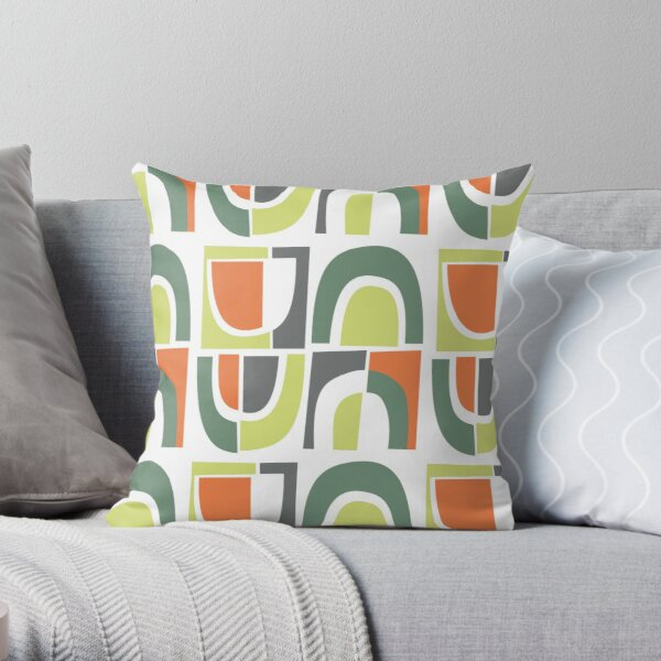 Cut Paper Arches, Orange, Green and Gray Throw Pillow