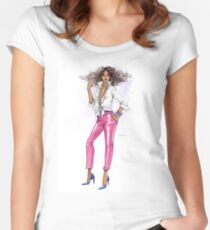 Pink and Fab Women's Fitted Scoop T-Shirt
