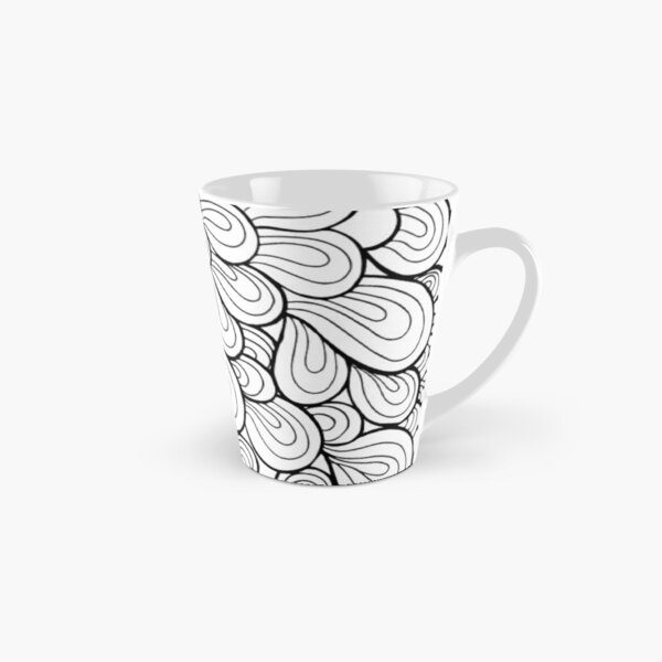 Visual Effect Black And White leaves and circles doodles  Tall Mug