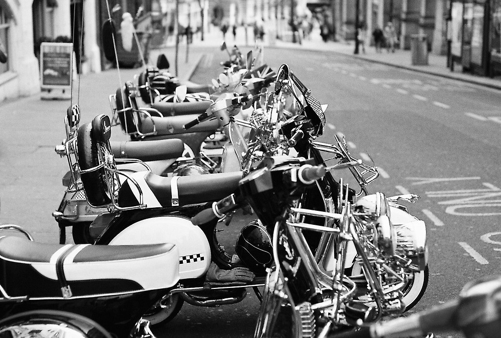 Stylish Black and White Picture of Mopeds by Sam Goodman