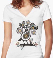 Scandinavian meets paisley bird hearts flowers Women's Fitted V-Neck T-Shirt