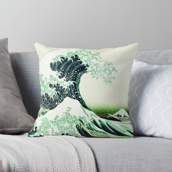 The Great Wave Green Throw Pillow