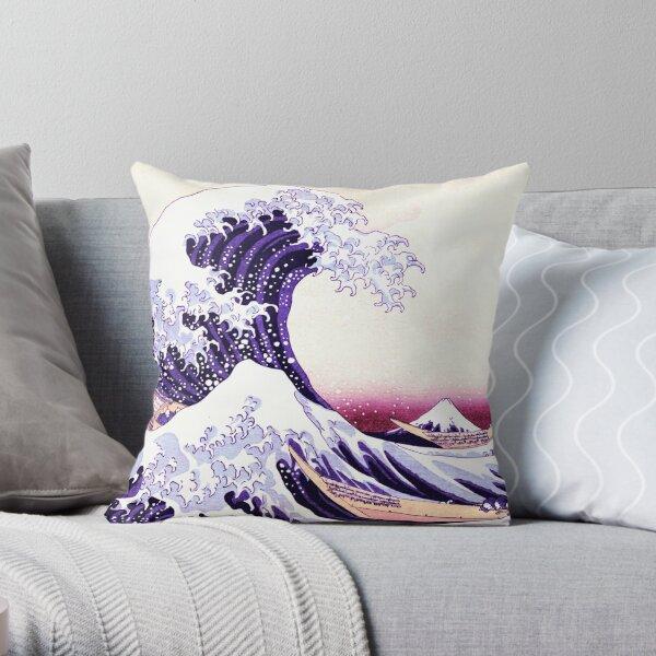 The Great Wave Fuchsia Purple Beige Throw Pillow