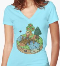 New Leaf Women's Fitted V-Neck T-Shirt