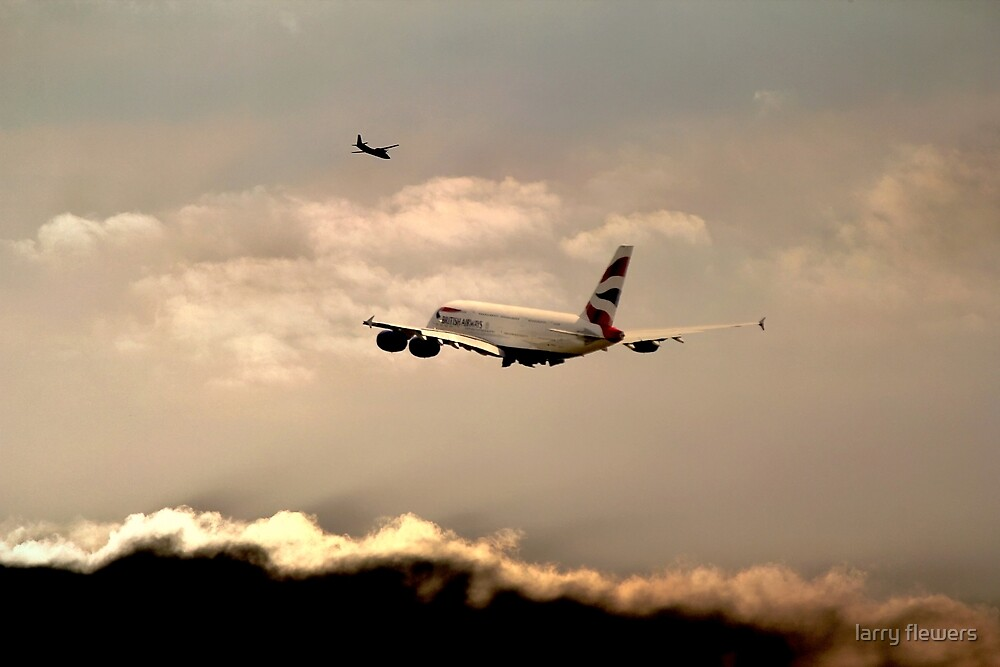 Airbus A380 at dusk  by larry flewers