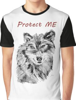 Protect Me - Wolf Art by Valentina Miletic Graphic T-Shirt