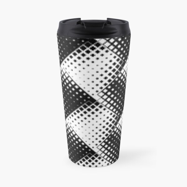 Visual Effect Black And White 3D cubes doodles Pattern Travel Mug