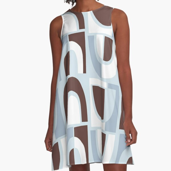 Cut Paper Arches, Chocolate and Ice Blue A-Line Dress