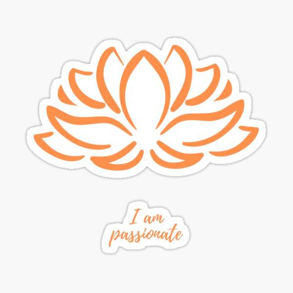 I am passionate - Positive Affirmation - Minimalist Orange Lotus flower Sticker