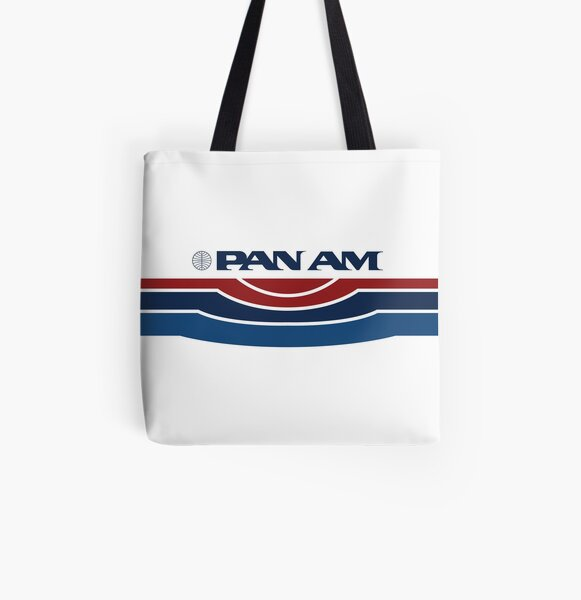 Pan Am Logo with Stripes All Over Print Tote Bag
