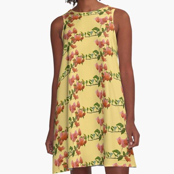 Großer Bougainvillea-Haufen A-Linien Kleid