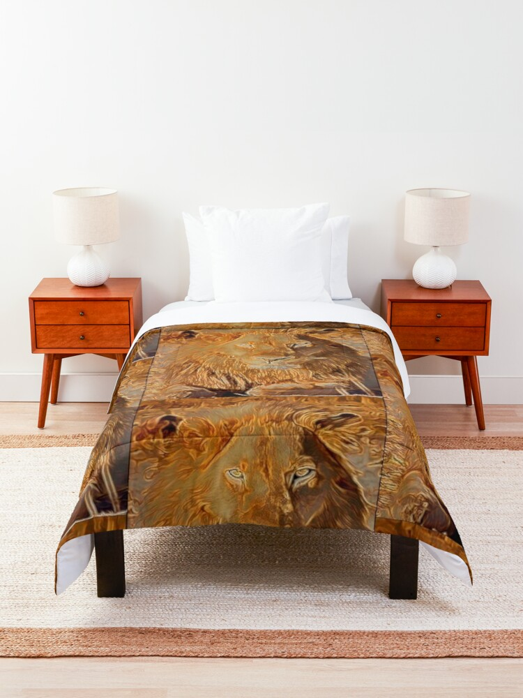 Alternate view of LION BASKING IN THE SUN Comforter