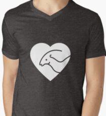 Dinosaur heart: Parasaurolophus Mens V-Neck T-Shirt