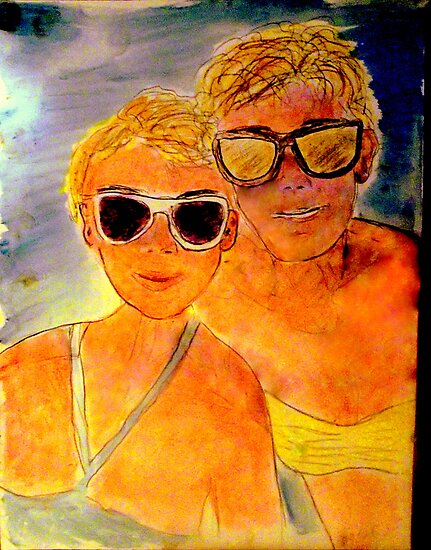 ANOTHER OREILLY ORIGINAL PAINTING REFLECTIONS OF Anna and Carol at the Beach by Timothy C O'Reilly