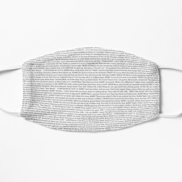 Bee Movie Script (The Whole Bee Script)- Text bee movie Text art  Flat Mask