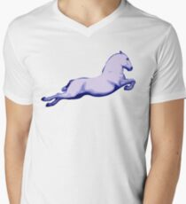 Lipanzanna Stallion in Capriole Blue Men's V-Neck T-Shirt
