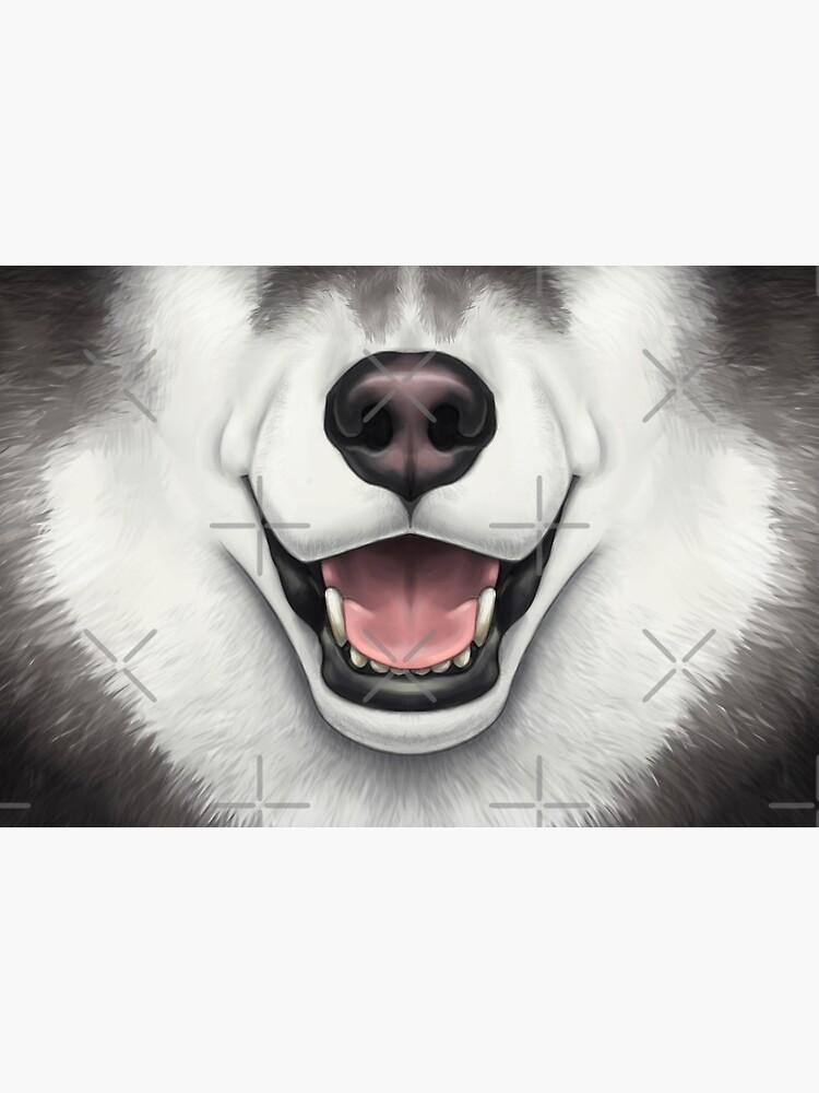 Black & White Husky Face by SidianArts