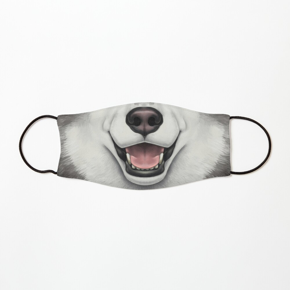 Black & White Husky Face Mask
