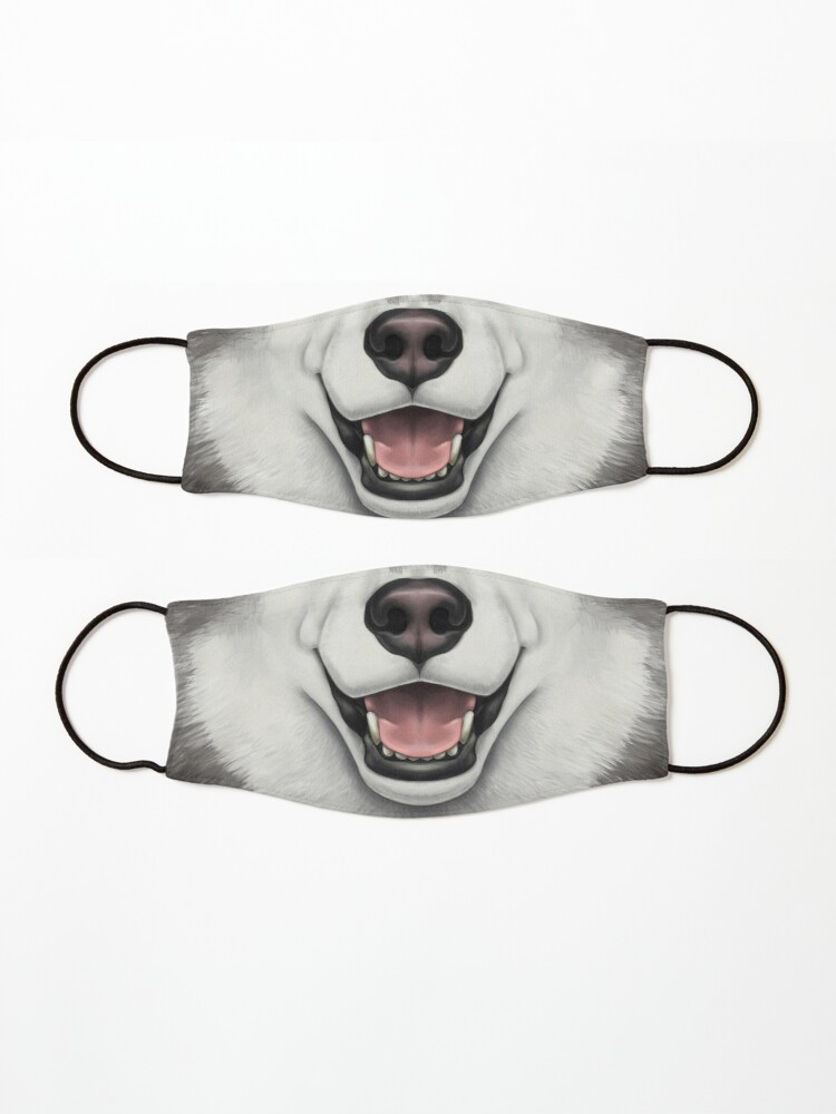 Alternate view of Black & White Husky Face Mask