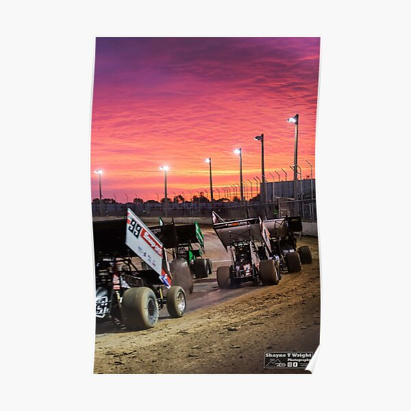 Sunset at the Speedway track. Poster
