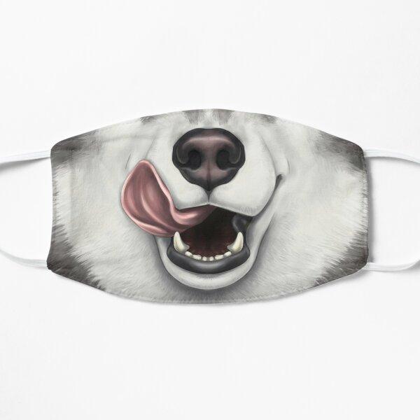 Cara Husky en blanco y negro con lengua Licky Mascarilla plana