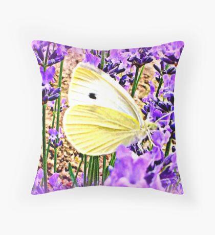 Large White on Lavender Throw Pillow