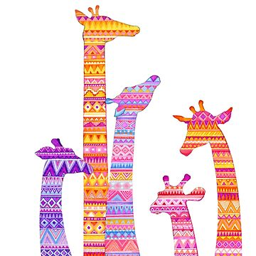 Giraffe Silhouettes in Colorful Tribal Print by ClearJadeStudio
