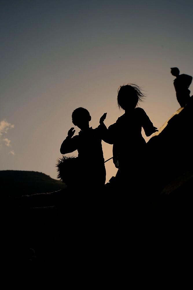 mountain kids.  by queenenigma