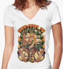 Simple Fixed Gear 01 Women's Fitted V-Neck T-Shirt