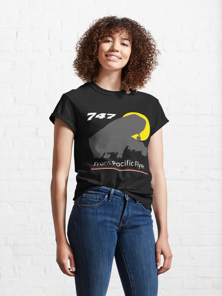 Alternate view of 747 Trans Pacific Flyer (Red, White, Black) Classic T-Shirt