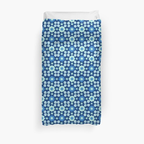 Stylised Blue All Over Floral Duvet Cover