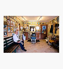 Old Time Barber in Old Time Shop Photographic Print