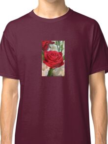 Red Rose with Garden Background Classic T-Shirt