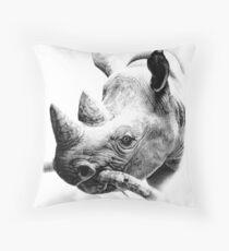 Rhino in Pencil Throw Pillow