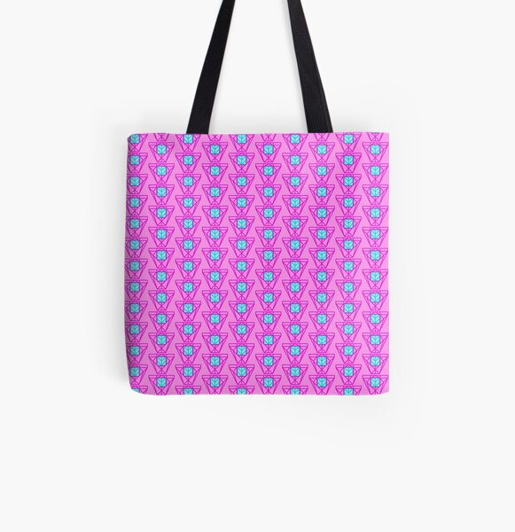 Cyan and Pink Geo All Over Print Tote Bag