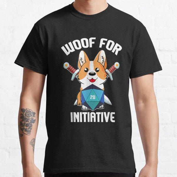 Woof for Initiative Funny Corgi Dog D20 RPG Gamer Gift  Classic T-Shirt
