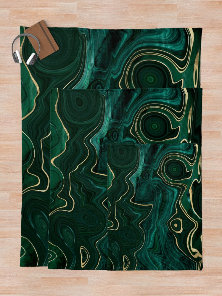 Alternate view of Malachite Marble Texture With Gold Veins I Throw Blanket