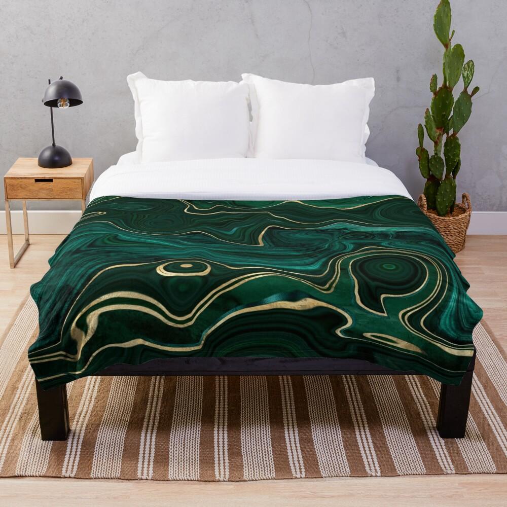 Malachite Marble Texture With Gold Veins I Throw Blanket