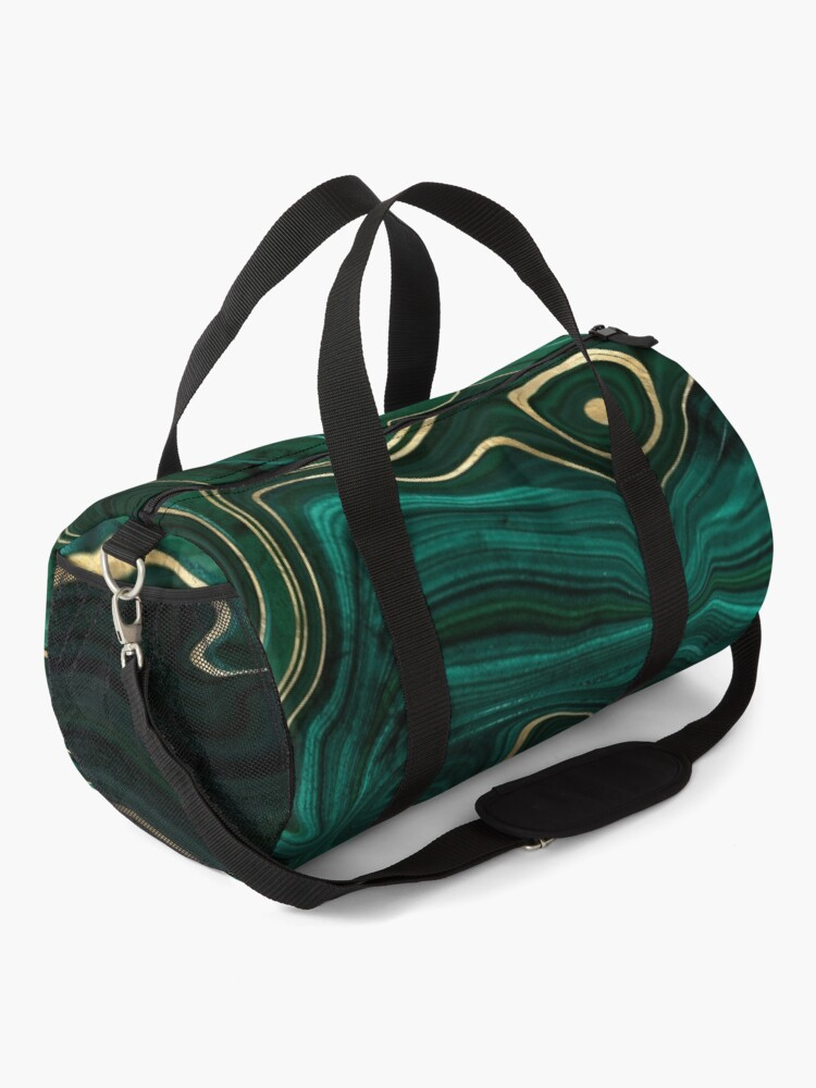 Alternate view of Malachite Marble Texture With Gold Veins I Duffle Bag