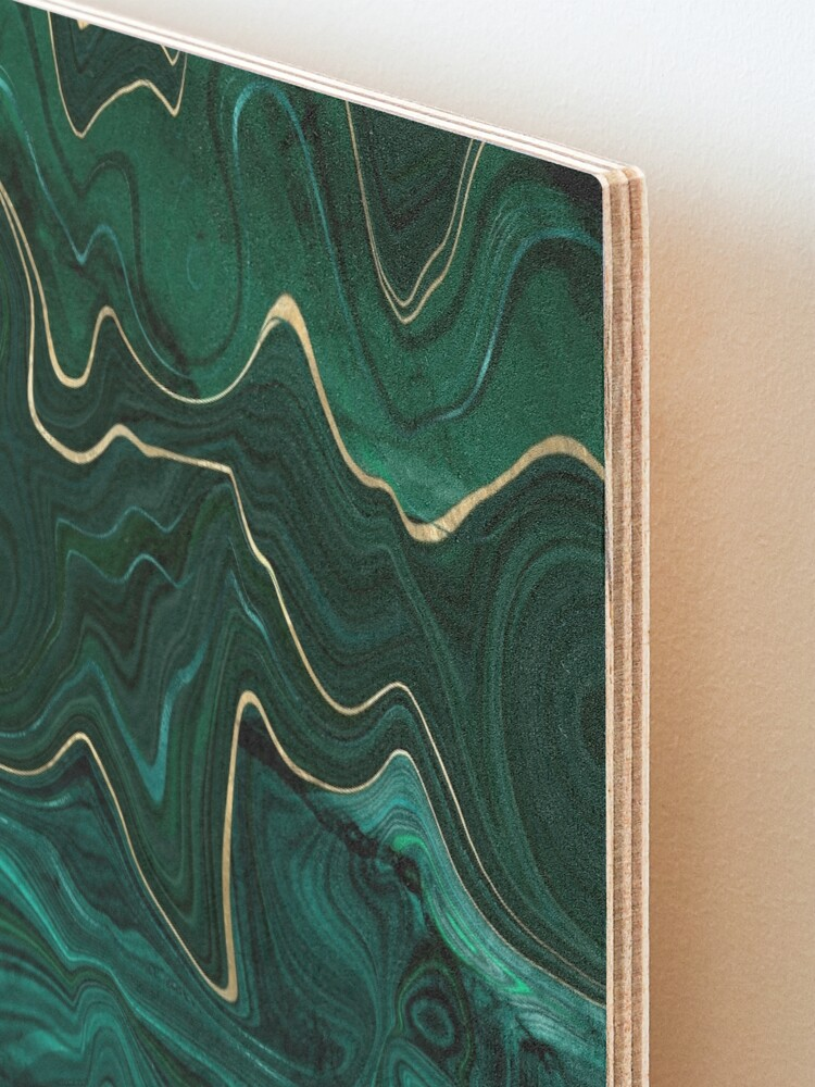 Alternate view of Malachite Marble Texture With Gold Veins I Mounted Print