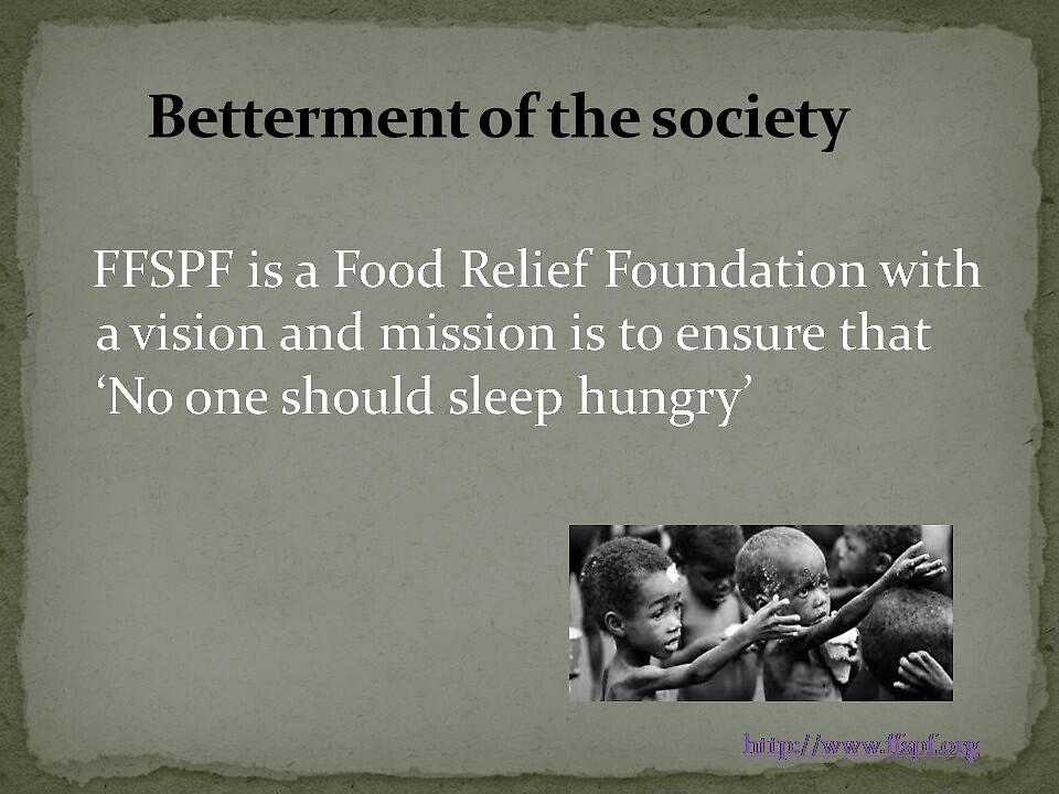 Helping the poor and hungry by FFSPF