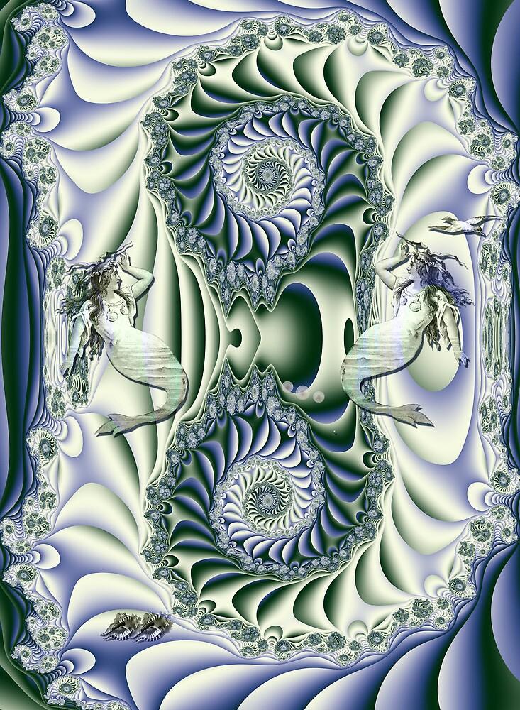 Vintage mermaids in a spiral fantasy ocean by walstraasart