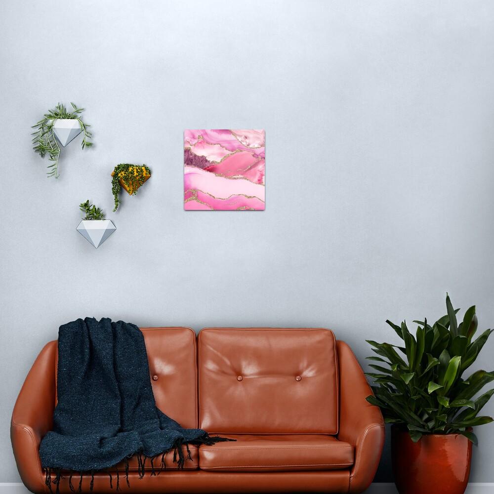 Pink Blush Agate Marble Landscape Metal Print