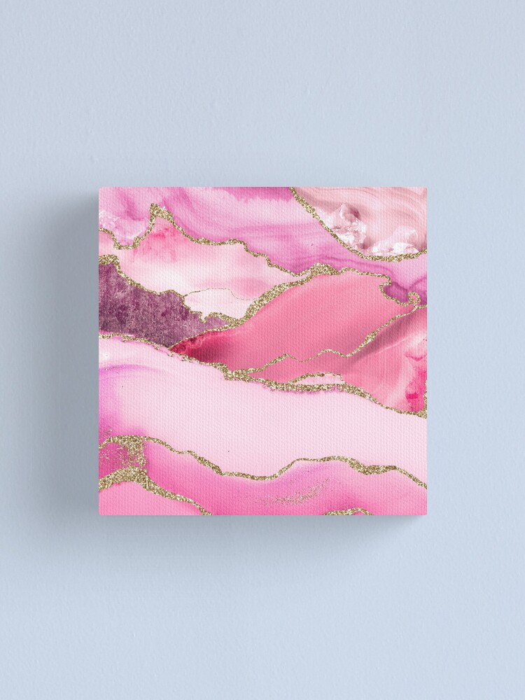 Alternate view of Pink Blush Agate Marble Landscape Canvas Print