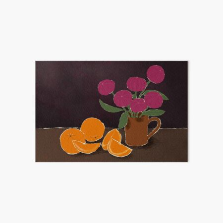 Mixed Media Still Life with Oranges and Flowers Art Board Print