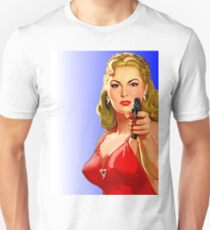 Red Hot Girl with Gun Unisex T-Shirt