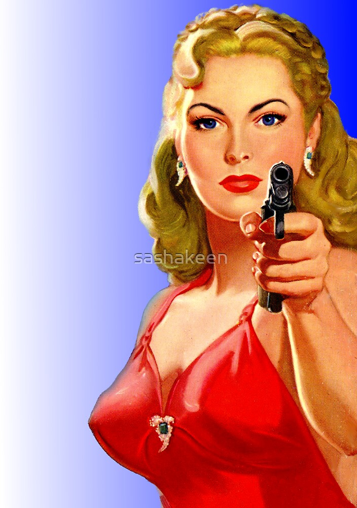Red Hot Girl with Gun by sashakeen