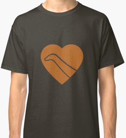 Dinosaur heart: Diplodocus (Orange on White) Classic T-Shirt