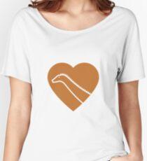 Dinosaur heart: Diplodocus (Orange on White) Women's Relaxed Fit T-Shirt
