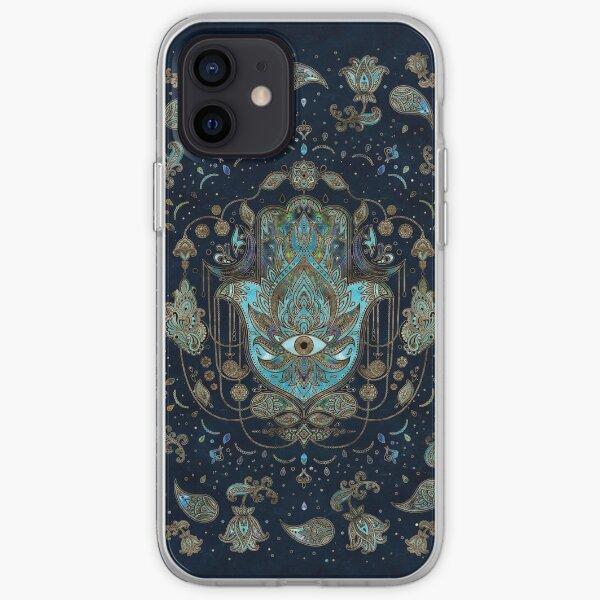 Hamsa Hand -Hand of Fatima Blue Gemstones iPhone Soft Case